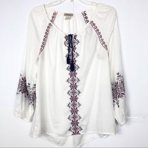 Lucky Brand | Embroidered Tassel Tie Peasant Top